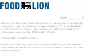Talk To Food Lion Online Survey