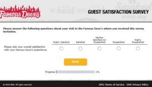 Famous Dave's Experience survey