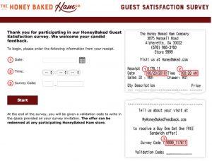 Honey Baked Customer Survey